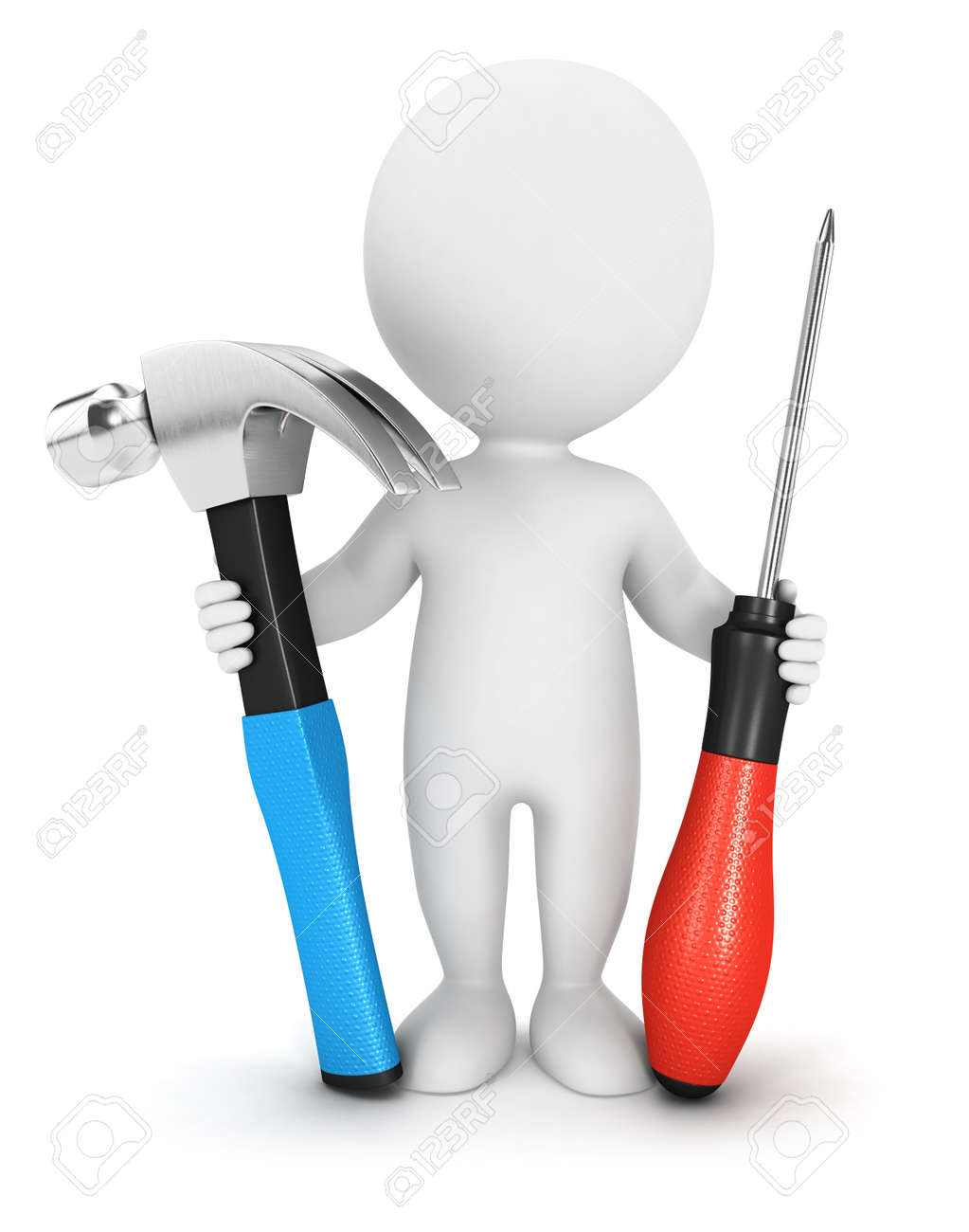3d white people with tools, isolated white background, 3d image Stock Photo - 19245188