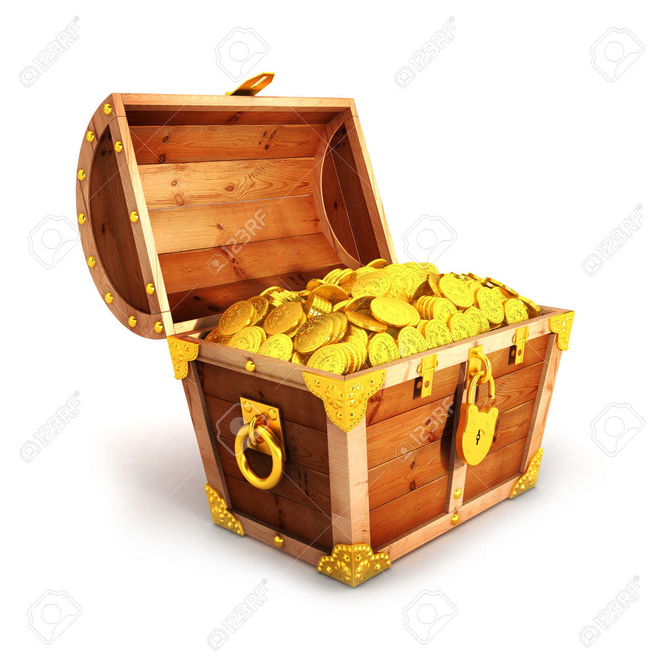 3d golden treasure chest isolated white background stock photo