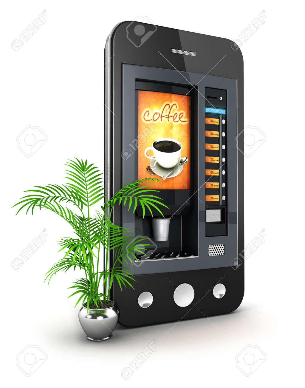 3d coffee machine smartphone, isolated white background, 3d image Stock Photo - 22392161