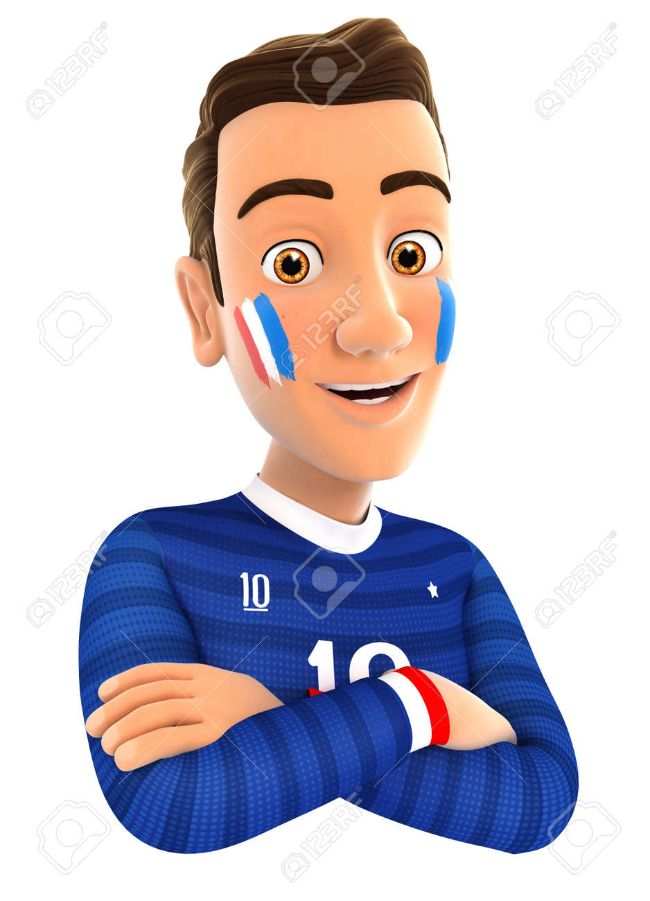 3d french soccer fan with arms crossed, isolated white background - 54903434