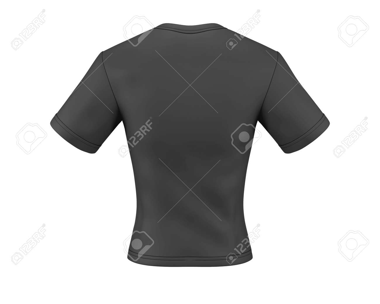 Black T Shirt Back Template For Your Design 3d Illustration Stock