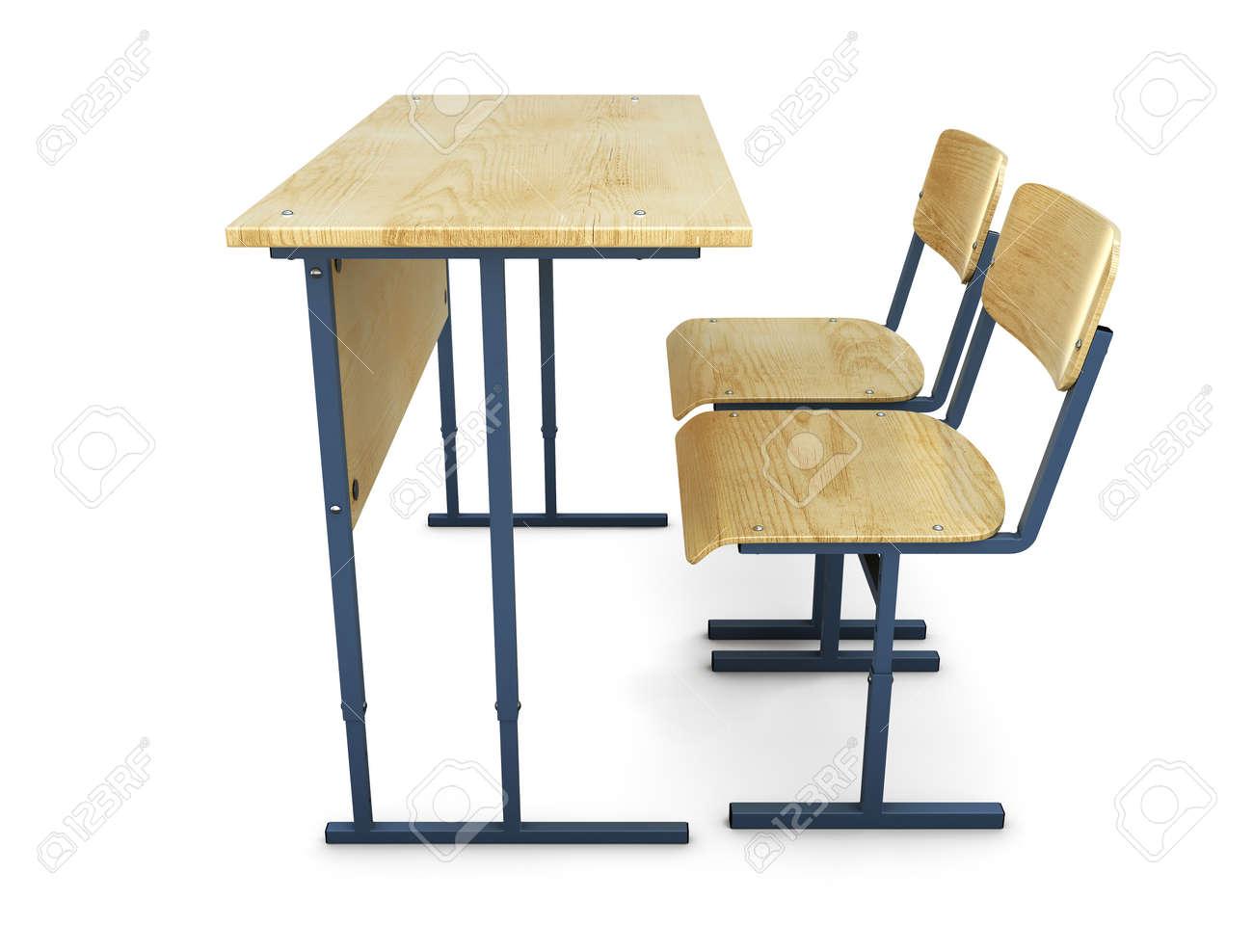 学校机椅子 2 つ側面からの眺め3 D イラスト の写真素材画像