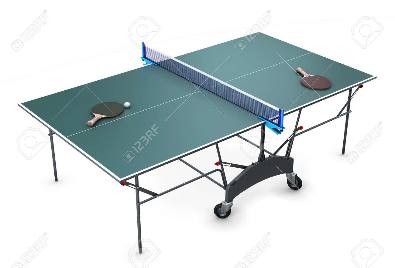 Ping-pong Con Raquetas De Tenis Y Una Bola En Ella Aislados Sobre ...