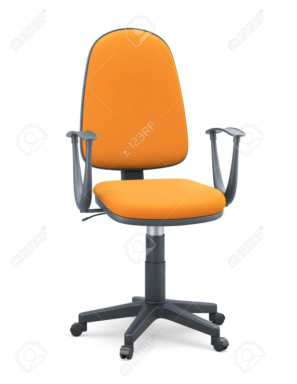 Illustration De Fond Tapisserie D'ameublement Isolé Bureau La Sur Avec Chaise Blanc3d D'orange nwP0Ok