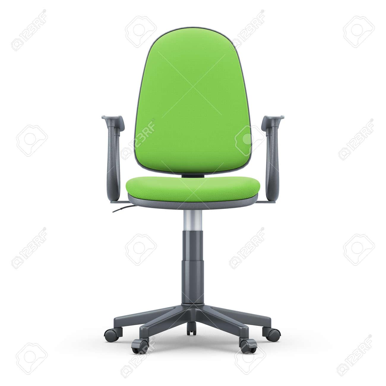 Vert IllustrationVue Sur Chaise Blanc3d Face Bureau Isolé Bureau La De Fond ZXkuOPi