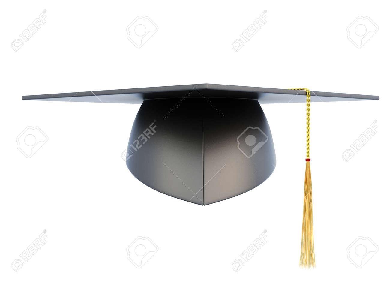 Abschluss Hut Auf Weißem Hintergrund Vorderansicht 3d Darstellung