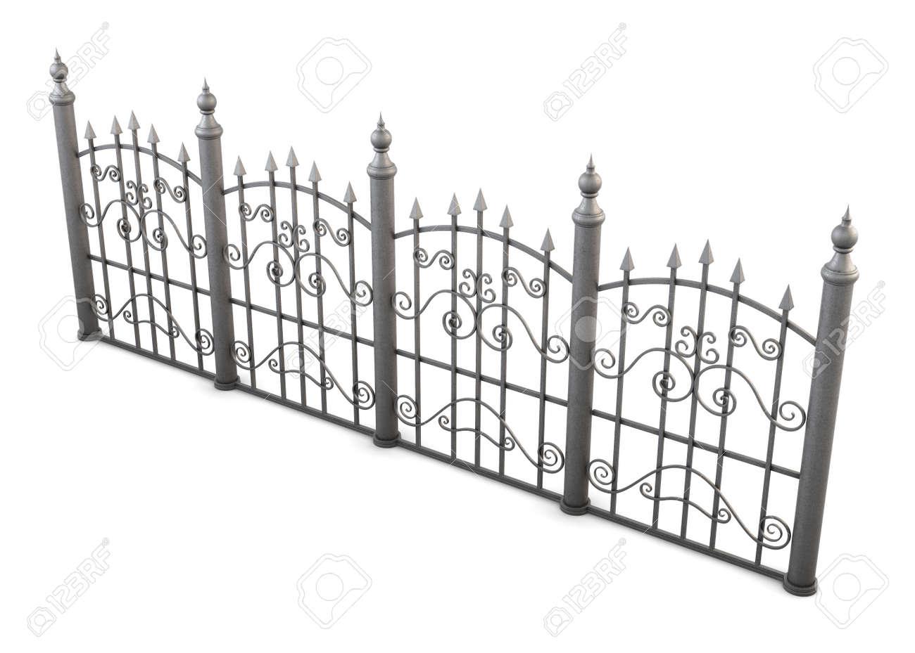 Dekorative Metall Zaun Blickwinkel Auf Einem Weissen Hintergrund 3d