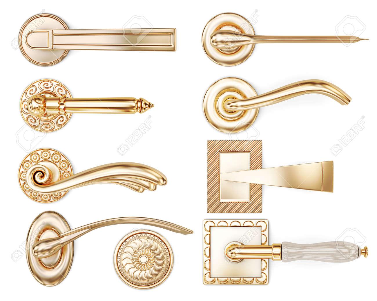 Set of different types of door handles  3d rendering