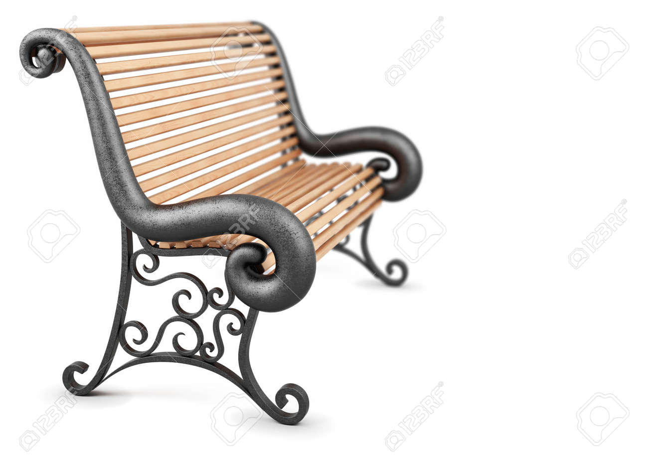 Bench Side View Isolated On White Background 3d Rendering Stock