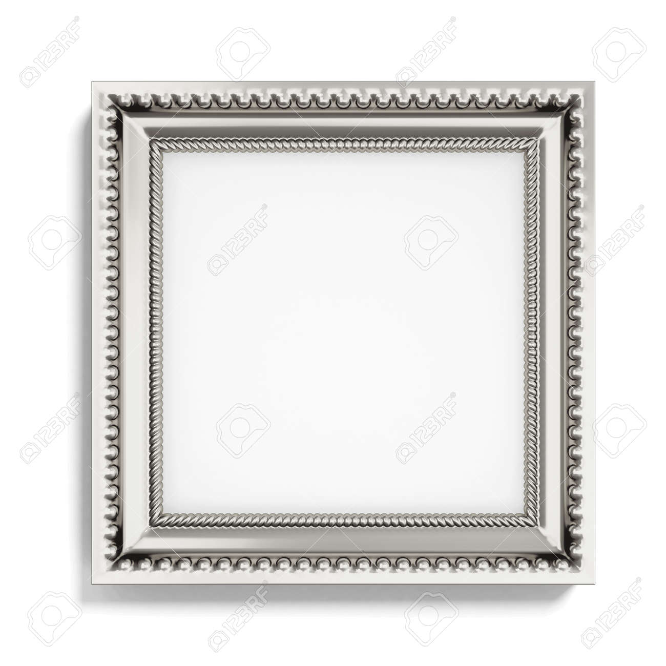 Carved Silver Picture Frame On White Background. 3d Rendering. Stock ...