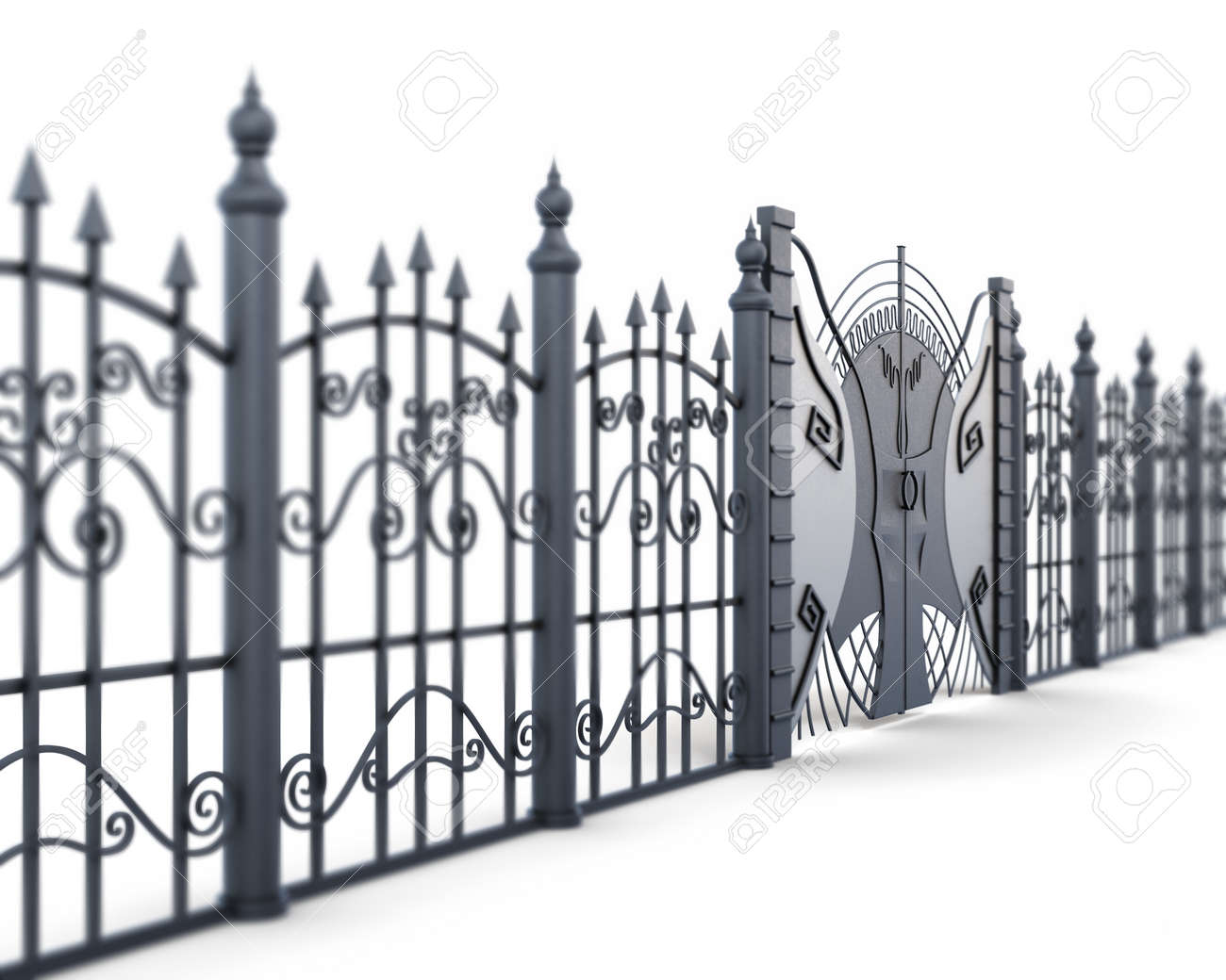 Metal Fence And Gate On A White Background View Angle 3d Rendering Stock Photo Picture And Royalty Free Image Image 53397941