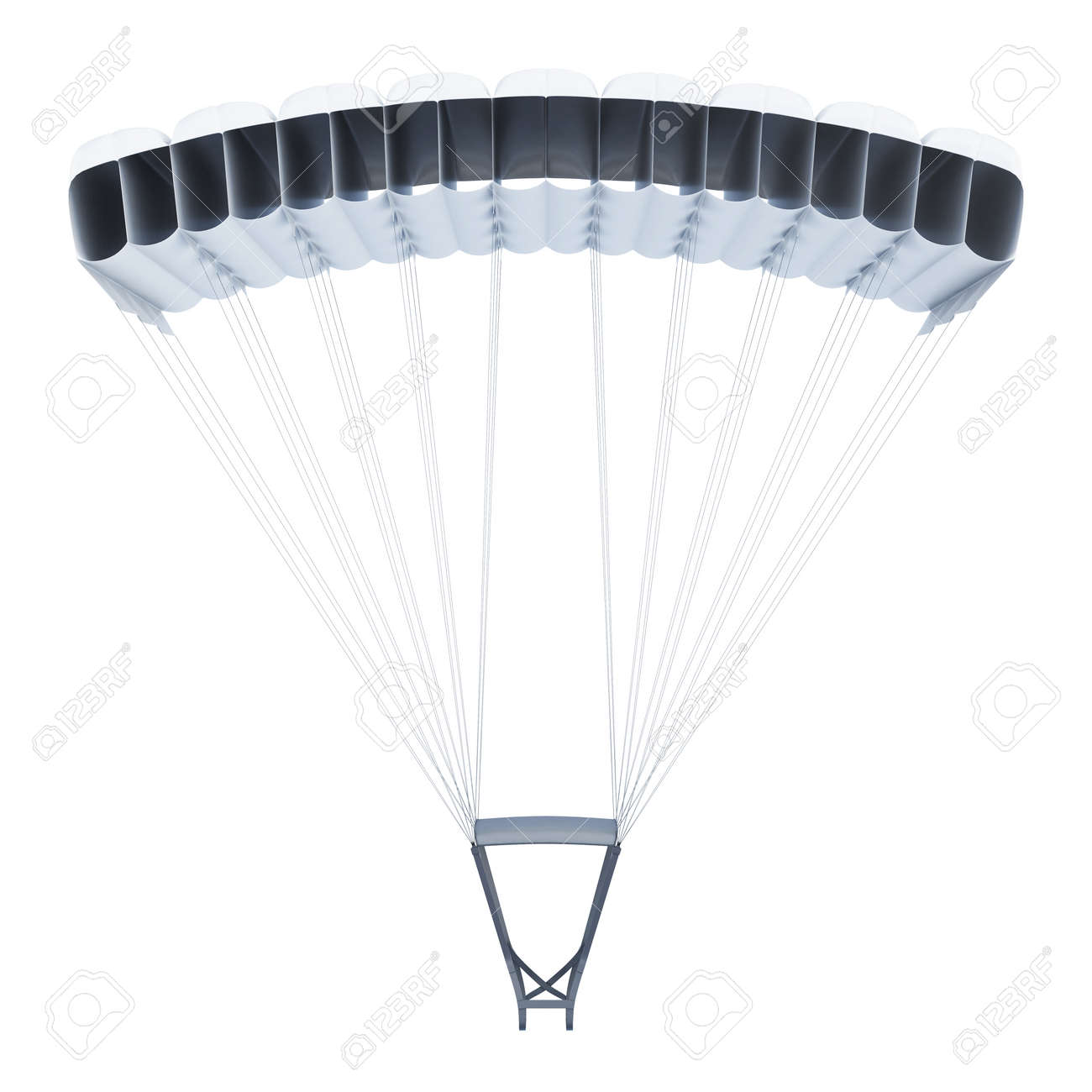 Frontal image of a parachute on white background  3d rendering