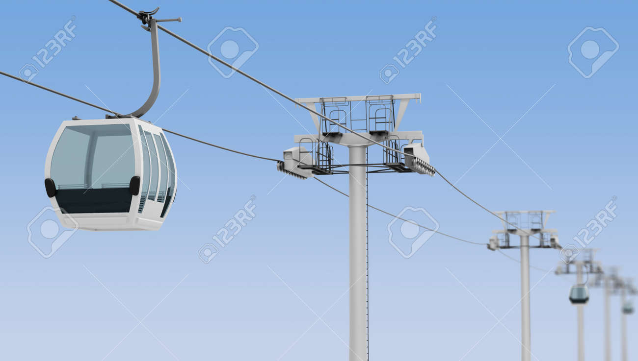 Funicular and cable car on blue sky background. 3d rendering. - 55817731
