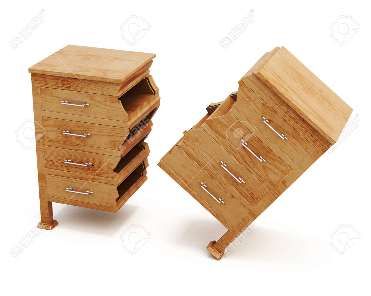 broken wooden dresser on white background conceptual image chest of drawers front view drawer front c74 front