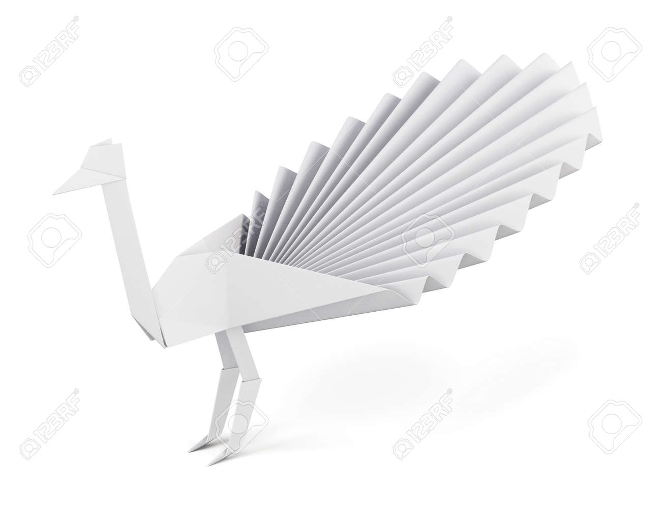Origami Peacock Made Of Paper Isolated On White Background Side View