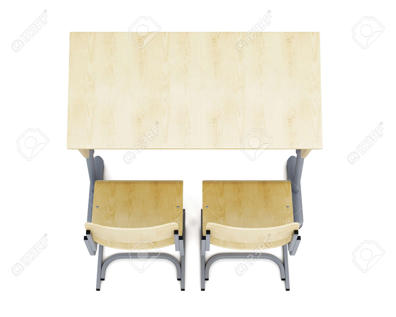 Top View Of A School Desk And Chairs Isolated On White Background