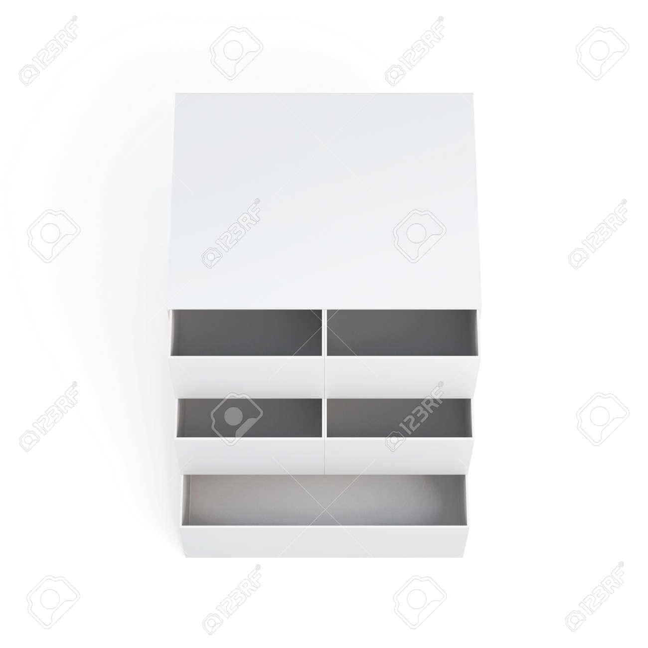 mini kommode auf einem weißen hintergrund. laminierte pappe. kommode