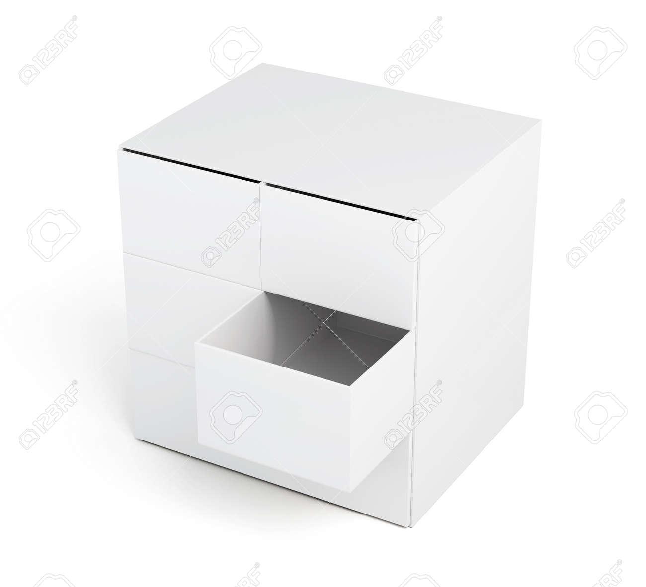 Kommode Mit Offenen Schublade Isoliert Auf Einem Weissen Hintergrund