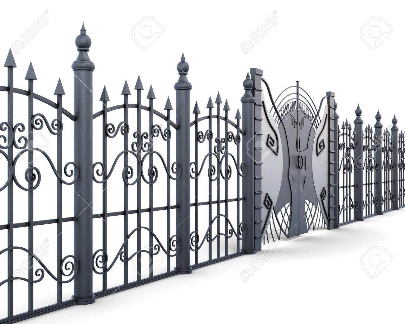 Asphaltieren Sie Den Zaun Und Tor Die Auf Einem Weissen Hintergrund