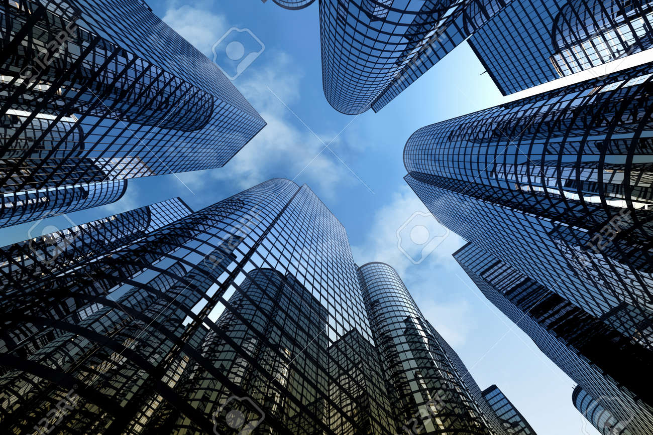 Low angle shot of modern glass city buildings with cloudy sky background stock photo