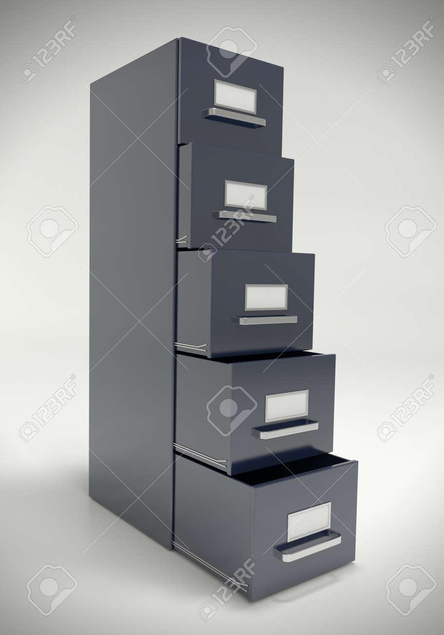 Great Large Dark Grey File Cabinet. Stock Photo   19612446 Photo