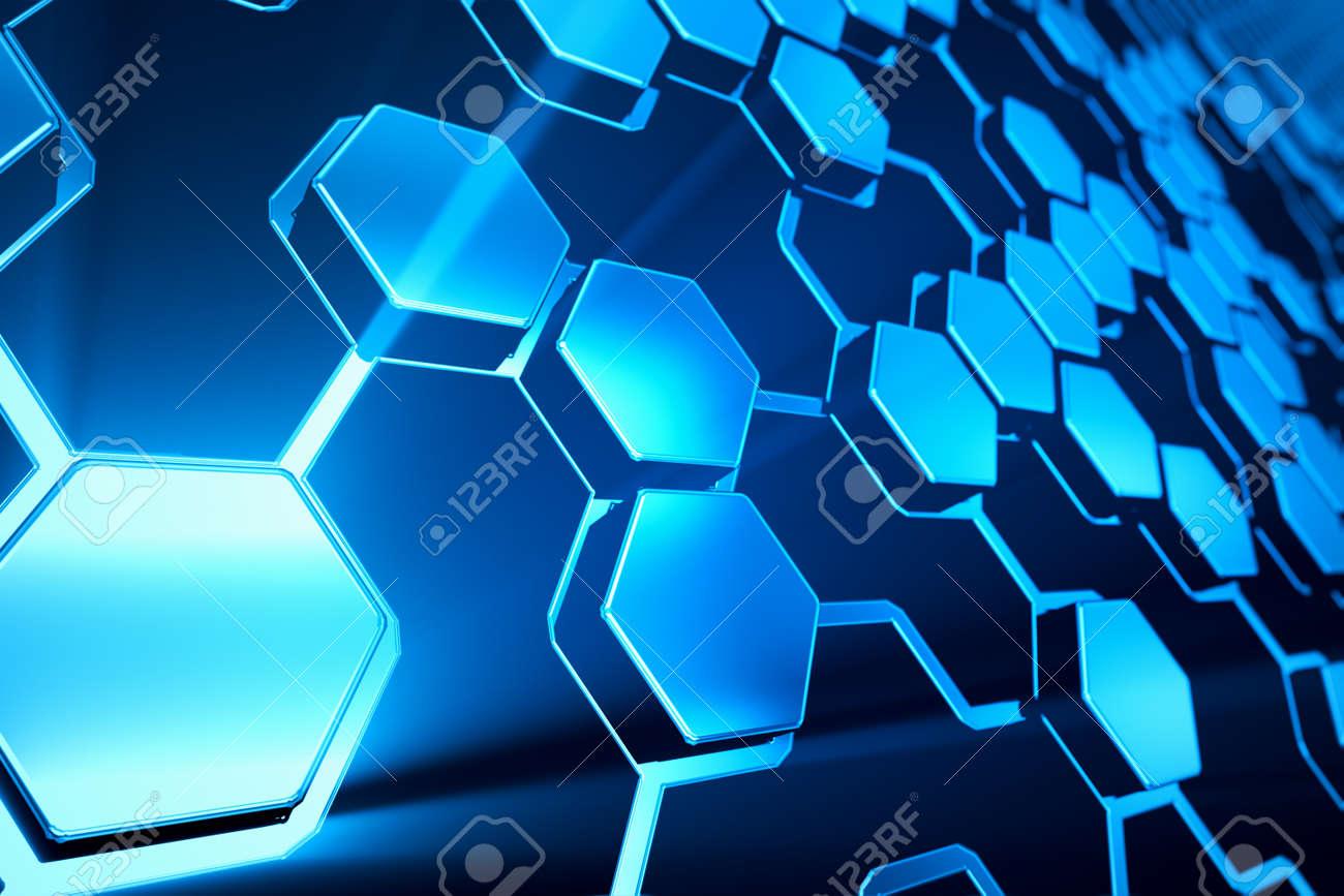 Abstract shining blue hexagonal background. Stock Photo - 19612467