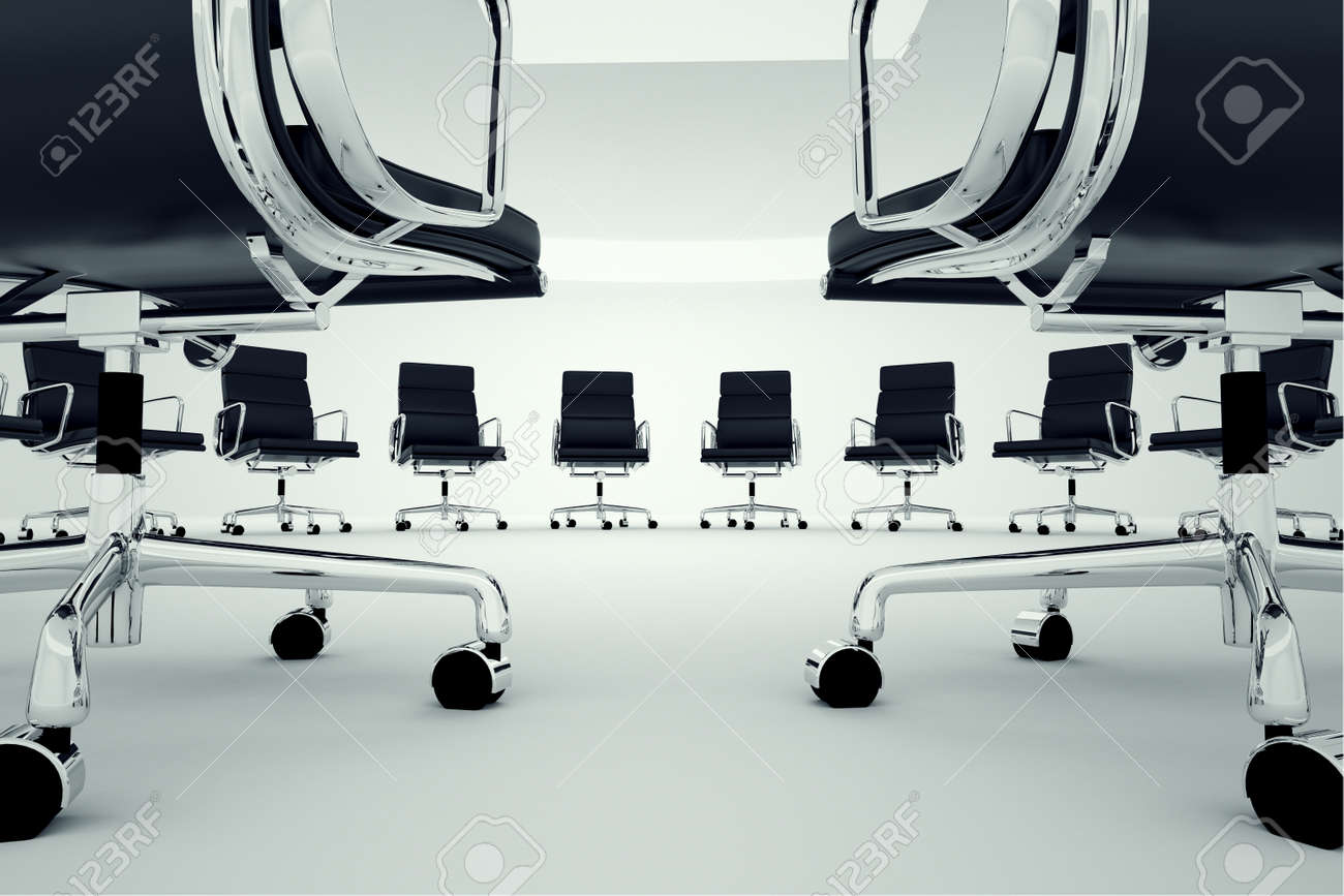 Black office chairs arranged in a circle Stock Photo - 19745697