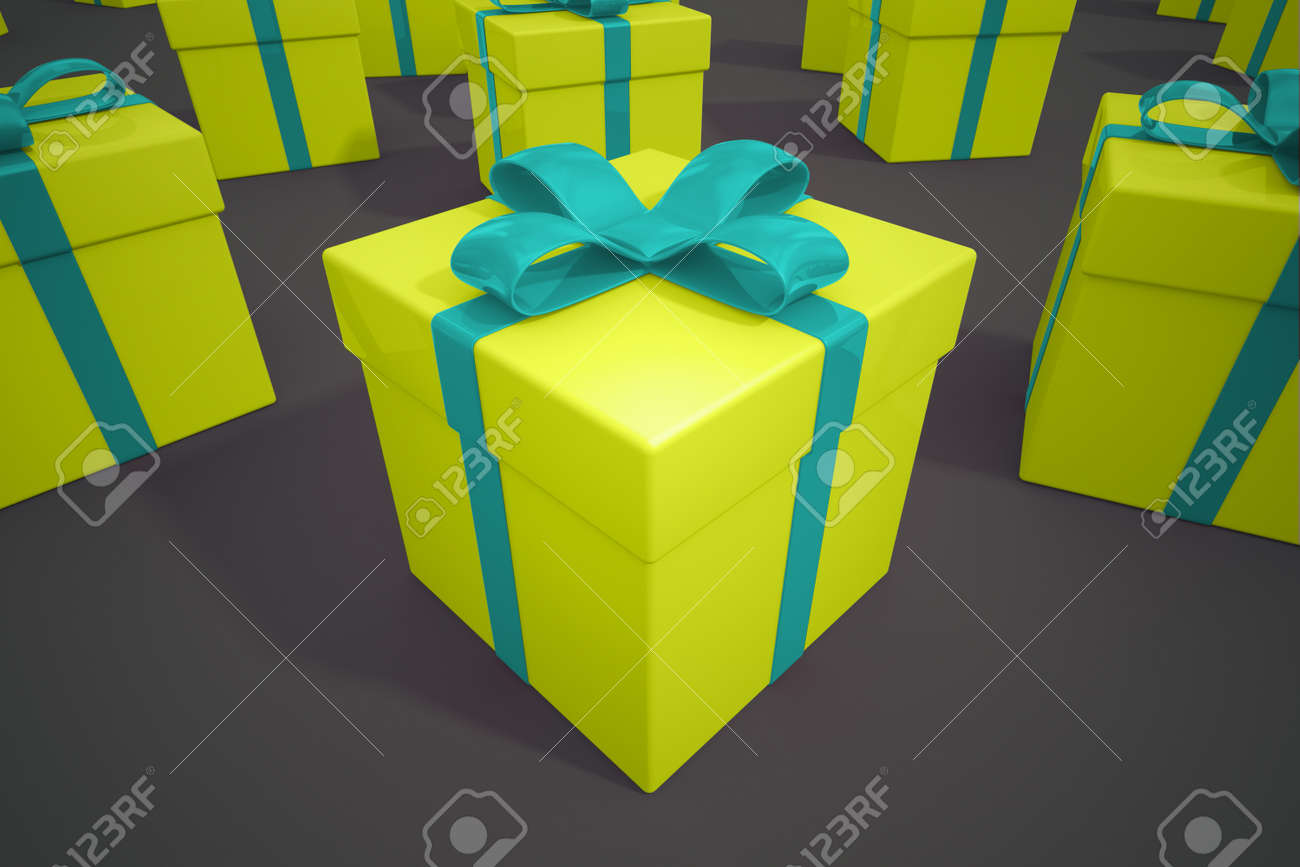 Yellow Boxes Of Presents With Blue Ribbons On A Dark Gray Background