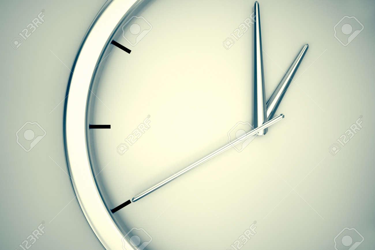 Nahaufnahme Auf Einem Schlichten, Modernen Uhr Hängen An Einer Wand ...
