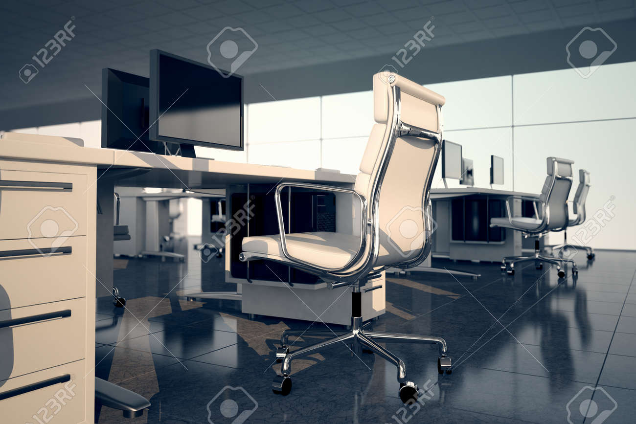 side view office set. Side View Of An Office Set White Armchair And Desk With A Monitor On Top In
