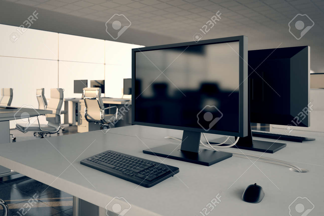 Closeup On A White Office Desk With A Monitor And Keybord On Top  Illustrates Arrangement And