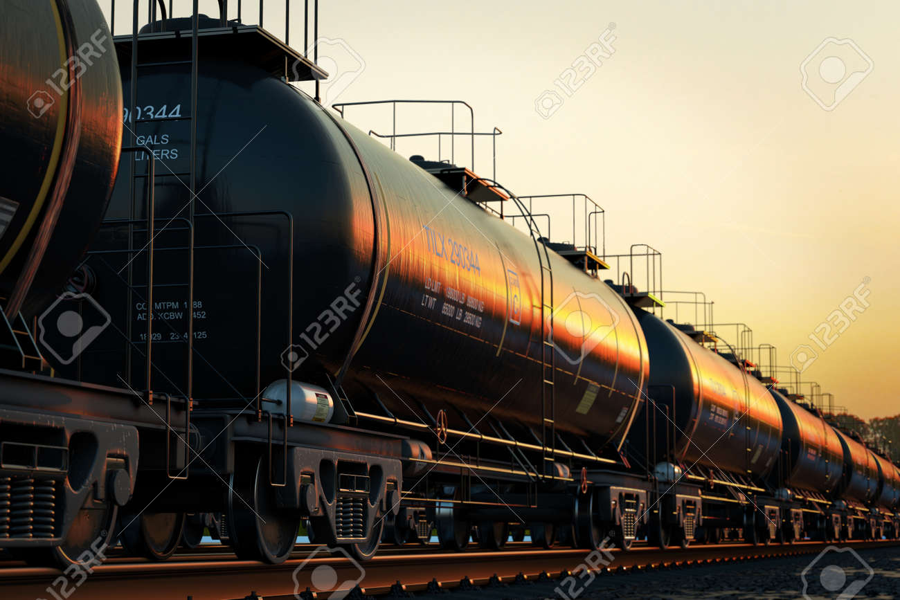 Transportation tank cars with oil during sunset. Stock Photo - 47638723