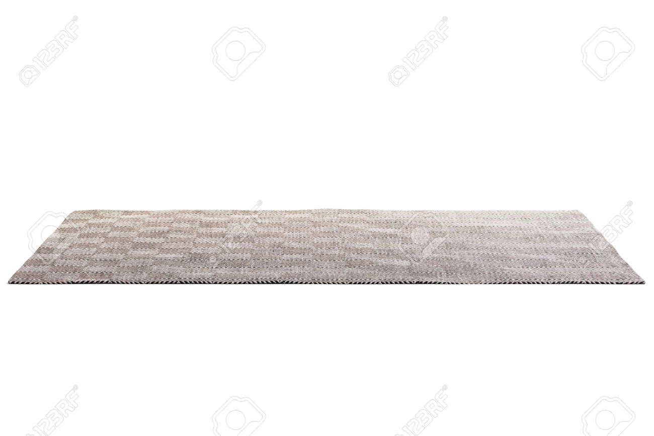 Modern brown rug with white geometric pattern on white background with shadows. 3d render - 137681507