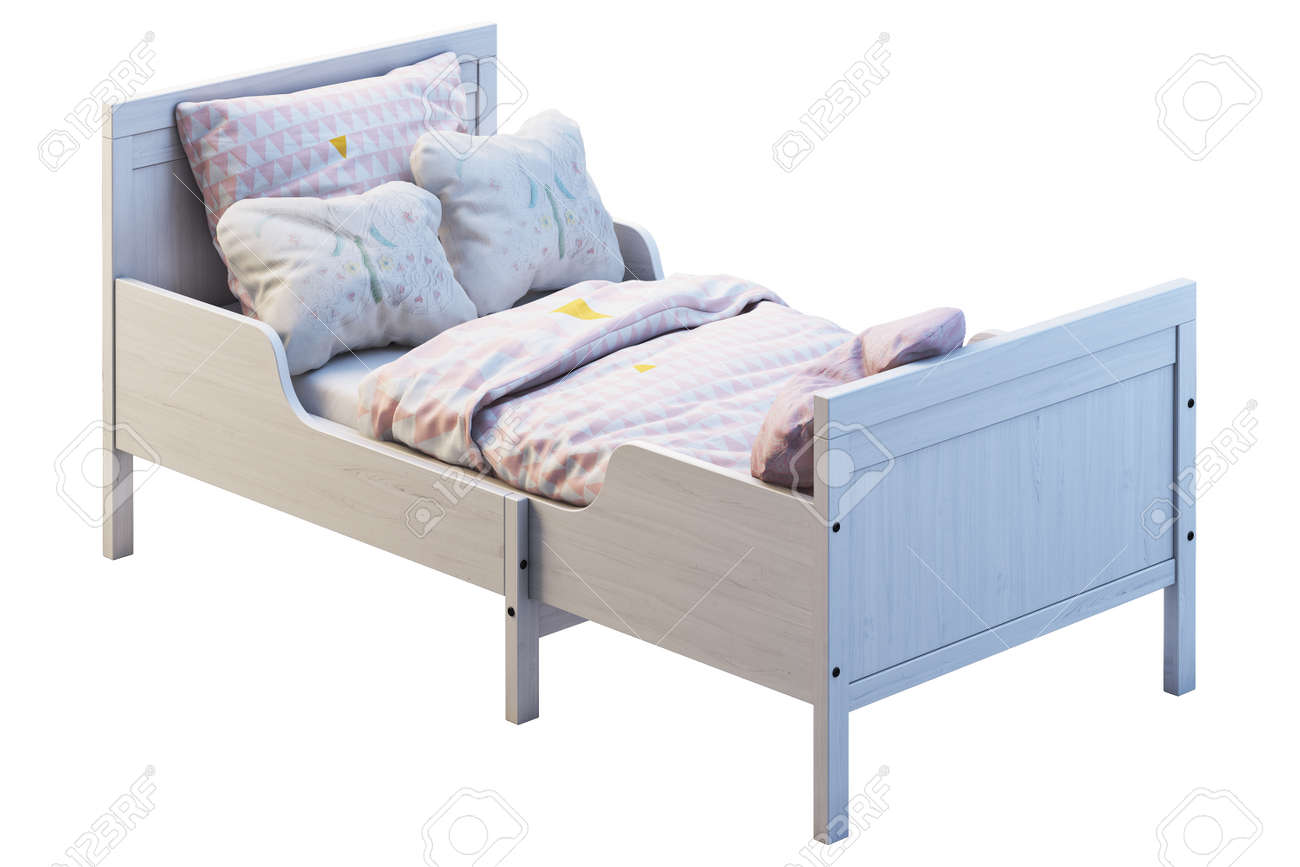 3d Render Of White Wood Pull Out Children S Bed On White Background Stock Photo Picture And Royalty Free Image Image 138030092