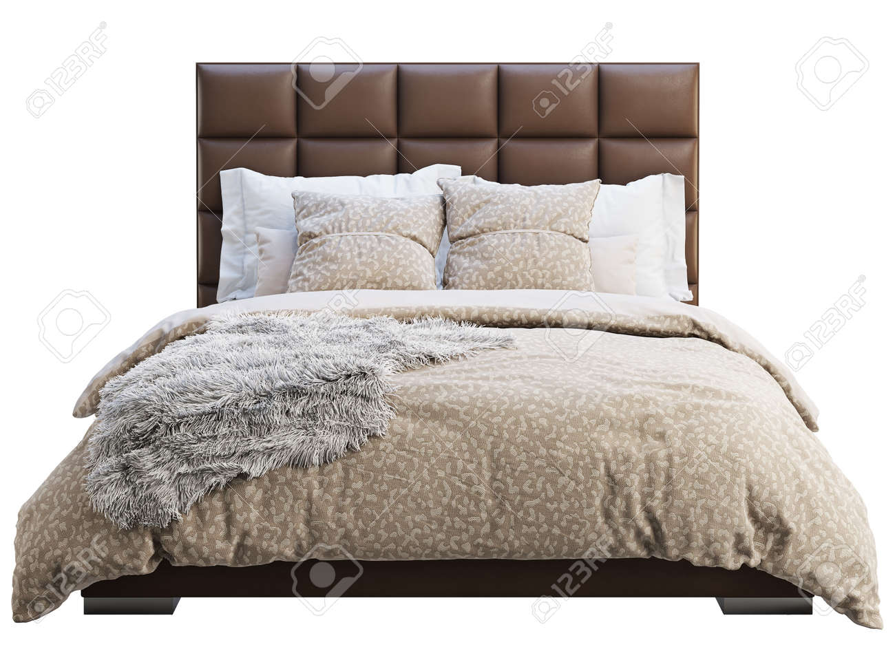 Picture of: Modern Double Bed On White Background Leather Upholstery Frame Stock Photo Picture And Royalty Free Image Image 138161686