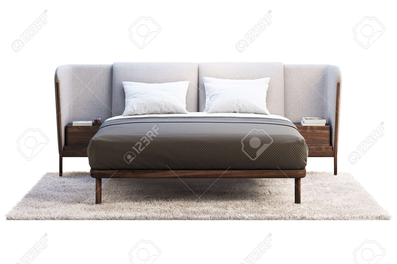 Luxury King Size Bed With Bedside Tables On White Background Stock Photo Picture And Royalty Free Image Image 138062709