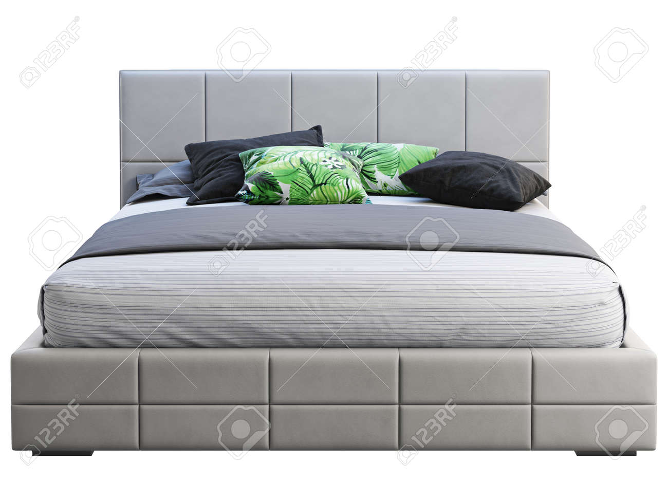 Modern Double Bed On White Background Leather Upholstery Frame Stock Photo Picture And Royalty Free Image Image 138161693