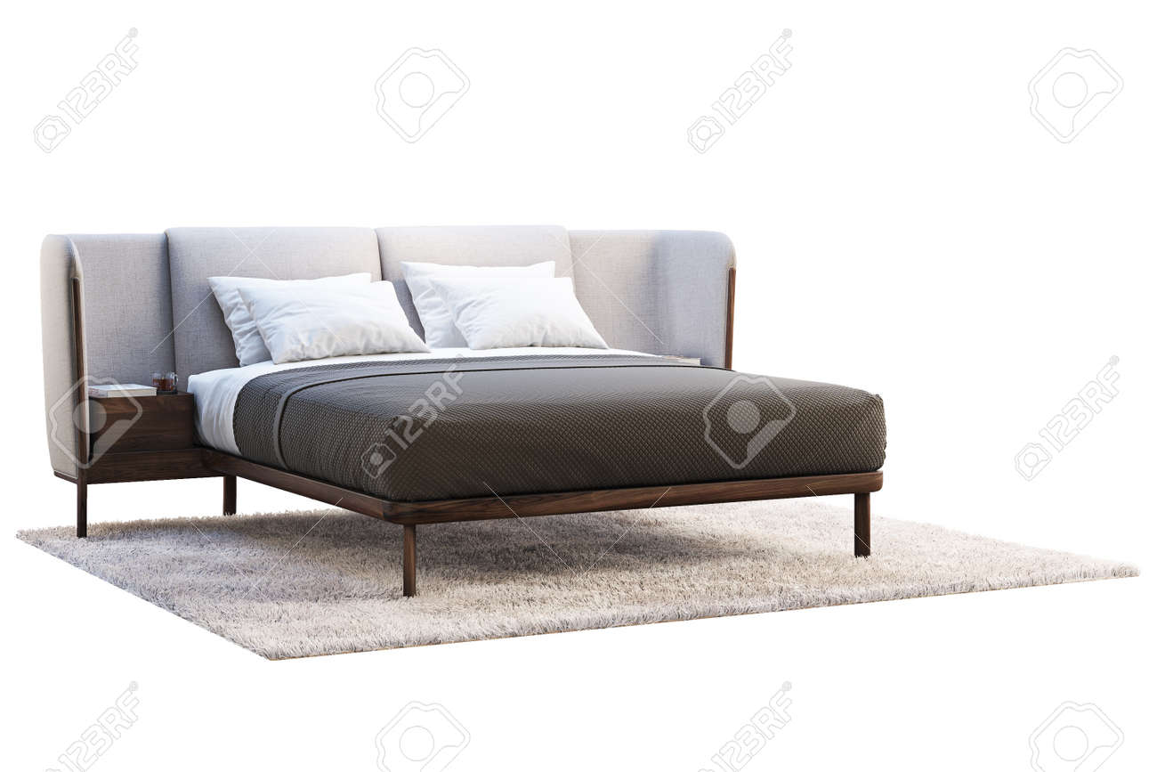 Luxury King Size Bed With Bedside Tables On White Background Stock Photo Picture And Royalty Free Image Image 138063266
