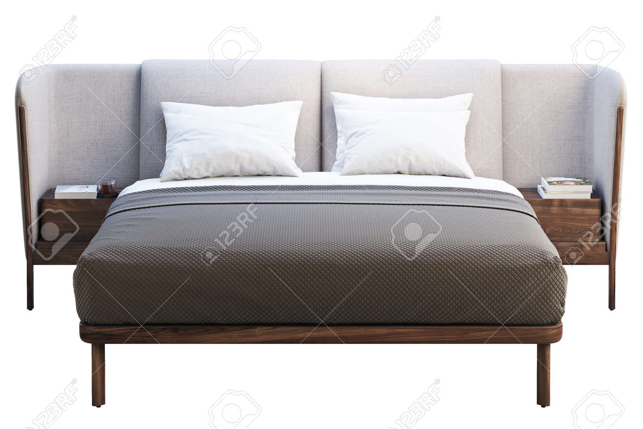 Luxury King Size Bed With Bedside Tables On White Background Stock Photo Picture And Royalty Free Image Image 138063593