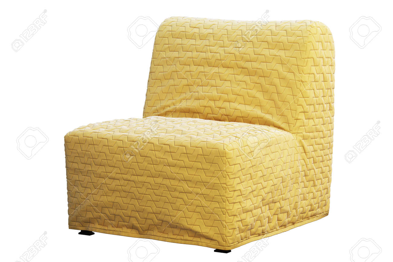 Scandinavian Folding Chair Bed With Yellow Slipcover In Folded Stock Photo Picture And Royalty Free Image Image 138063679