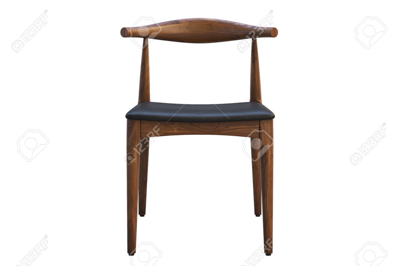 Picture of: Mid Century Wooden Chair With Leather Seat On White Background Stock Photo Picture And Royalty Free Image Image 138135201