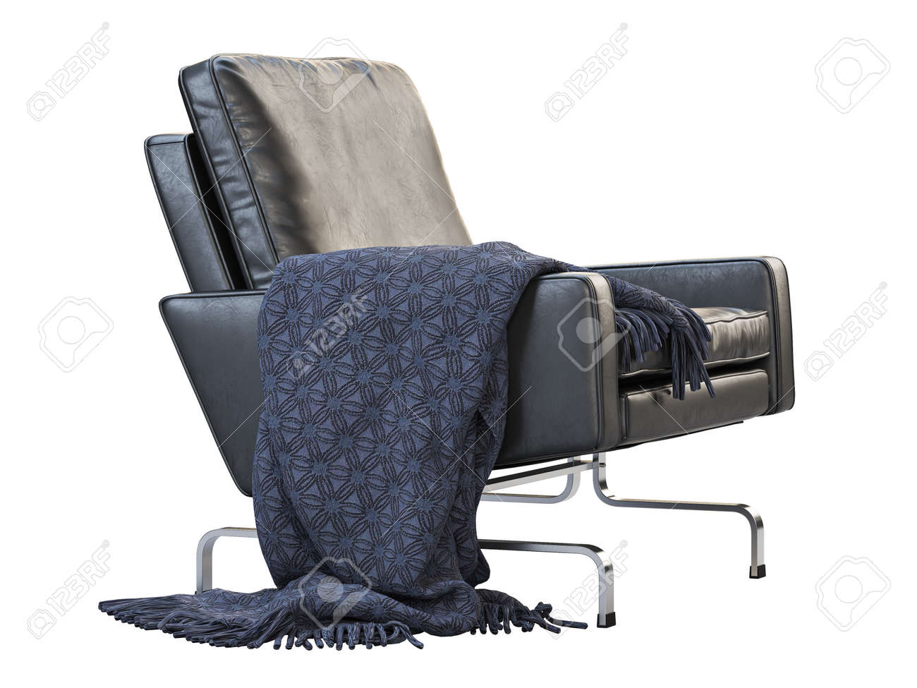 Mid Century Leather Chair Leather Upholstery Armchair With Metal Stock Photo Picture And Royalty Free Image Image 138135038
