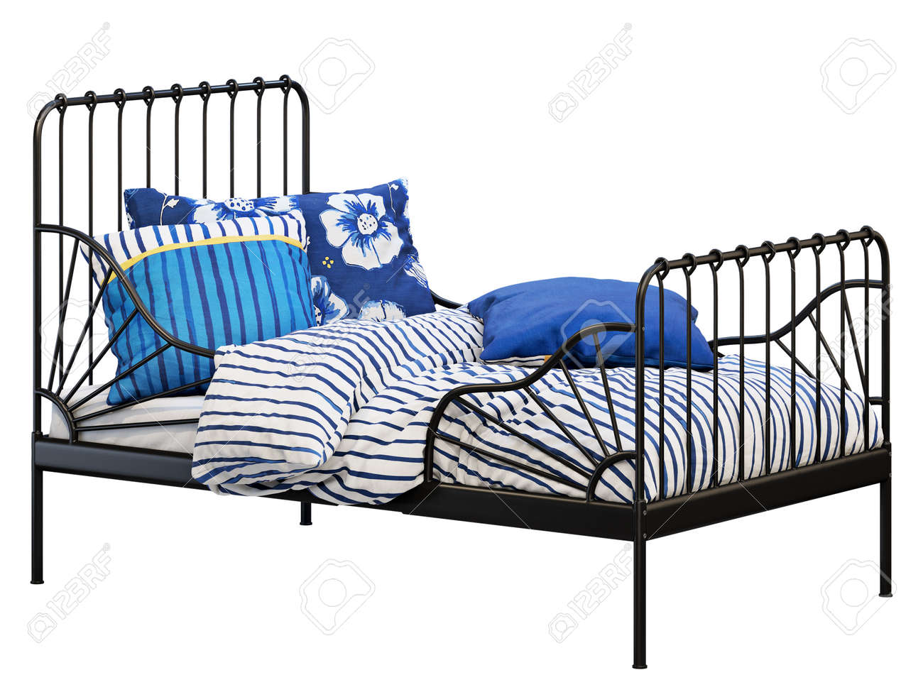 Black Metal Frame Single Children S Bed With Colorful Linen On Stock Photo Picture And Royalty Free Image Image 138135265