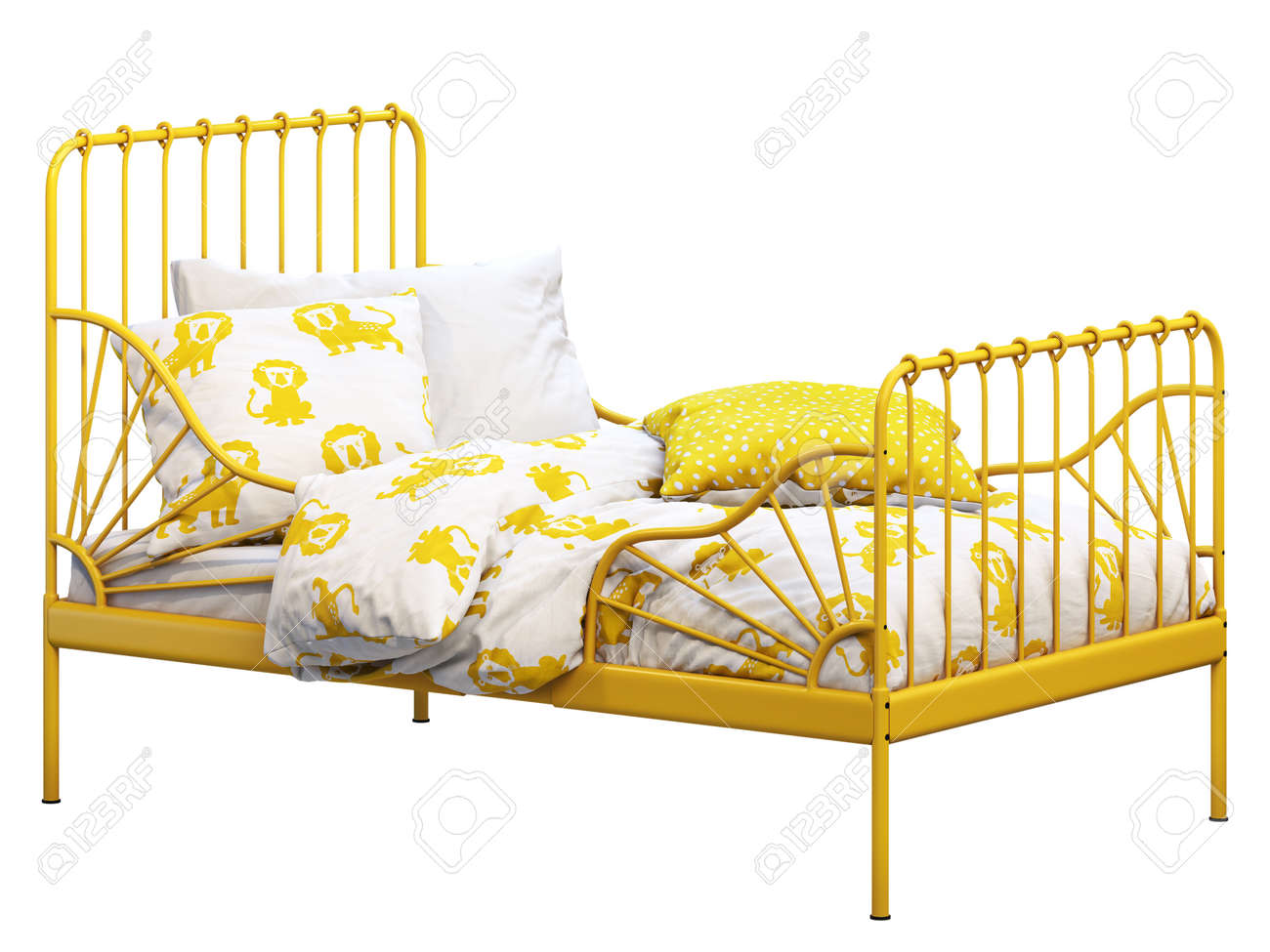 Yellow Metal Frame Single Children S Bed With Colorful Linen Stock Photo Picture And Royalty Free Image Image 138134781