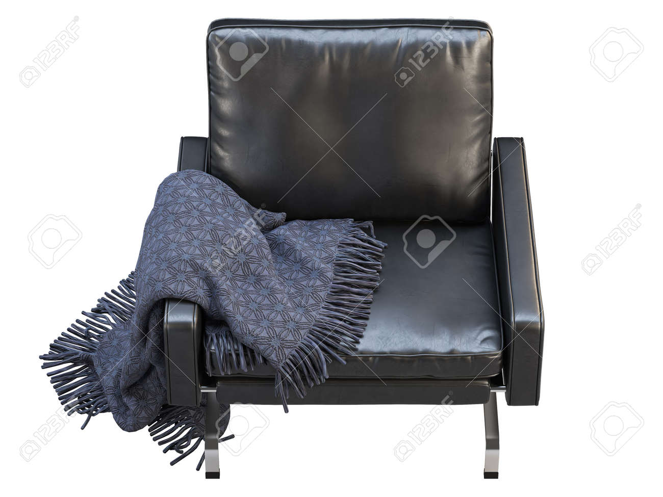 Mid Century Leather Chair Leather Upholstery Armchair With Metal Stock Photo Picture And Royalty Free Image Image 138138890