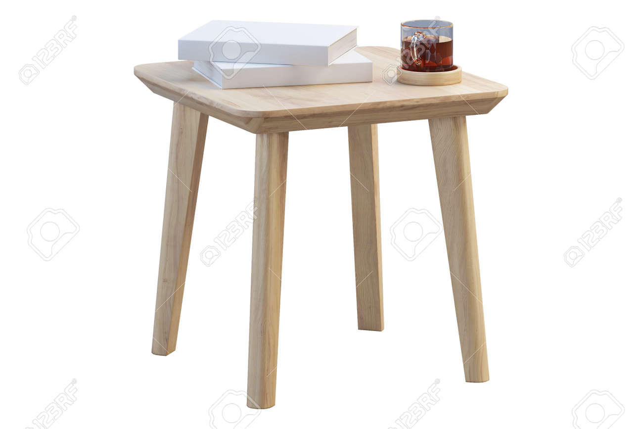 - Modern Brown Wood Rectangular Coffee Table With Books And Cup
