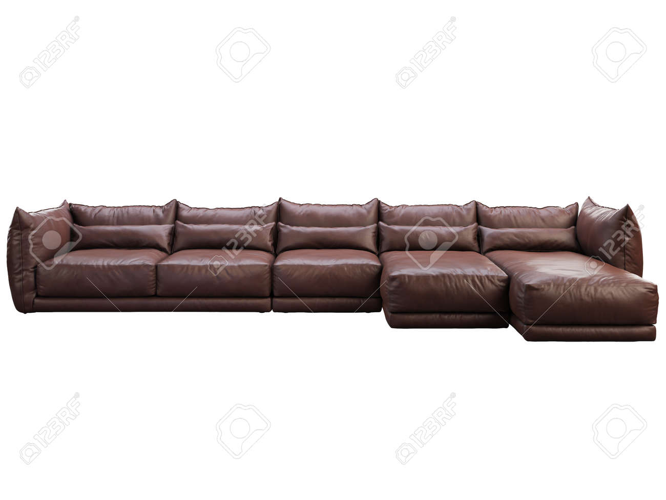 - Modern Huge Brown Corner Leather Sofa With Chaise Lounge. Leather