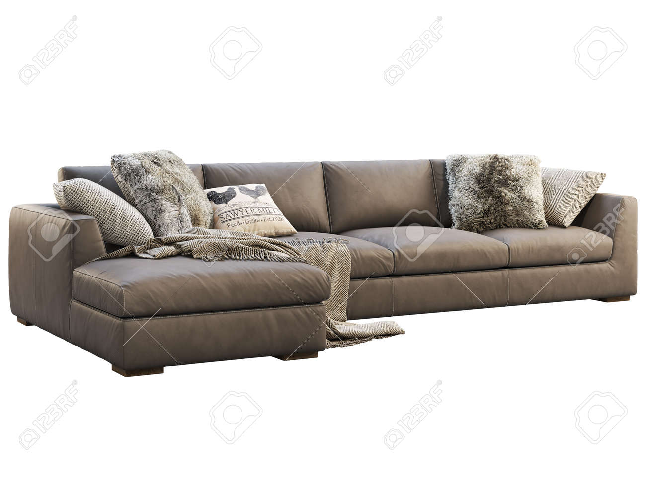 Chalet Modular Leather Sofa With Chaise Lounge Leather Upholstery Stock Photo Picture And Royalty Free Image Image 138175018