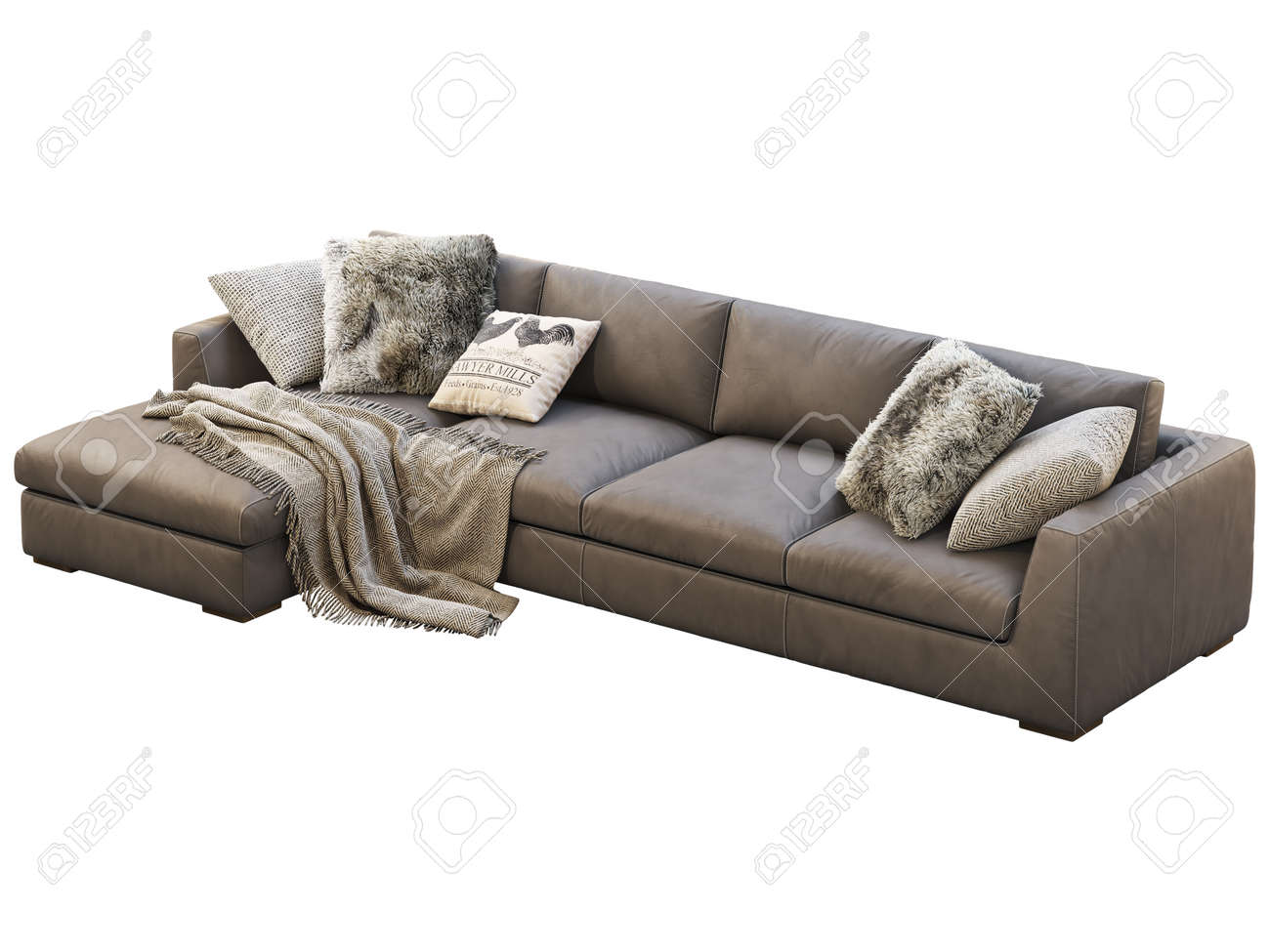 - Chalet Modular Leather Sofa With Chaise Lounge. Leather Upholstery