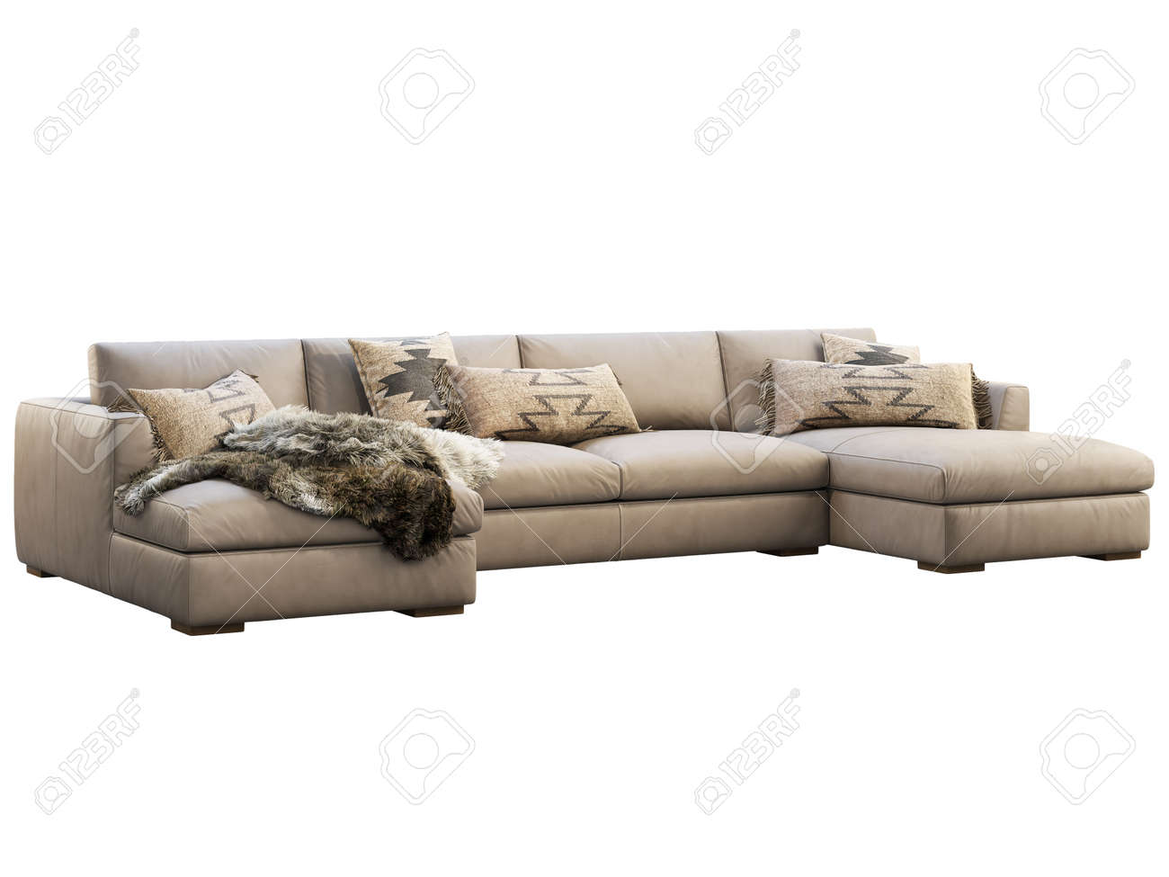 Chalet Modular Leather Sofa With Chaise Lounge Leather Upholstery Stock Photo Picture And Royalty Free Image Image 138175002